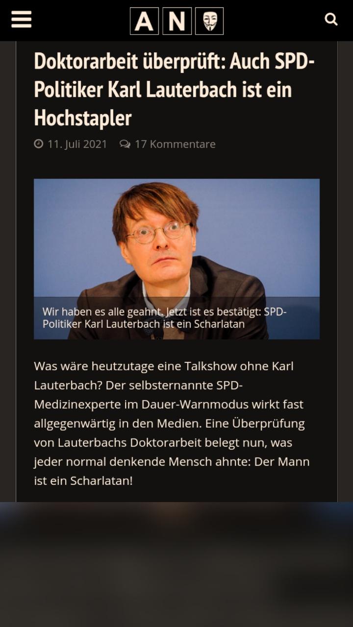 """Ist """"Epidemiologe"""" SPD-Politiker Karl Lauterbach wie langevermutet ein Hochstapler und Scharlatan…?!!"""