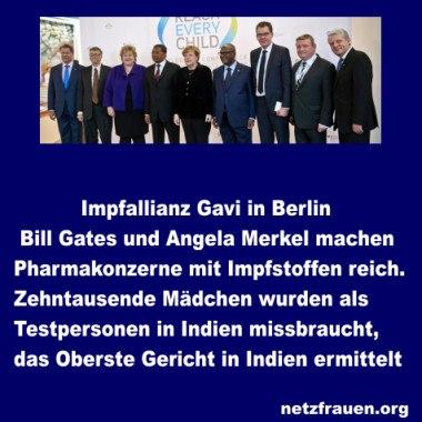 Wusstest Du, dass Merkel Schirmherrin bei der GAVI ist? GAVI ist die Impfallianz, die von Bill Gates gegründet wurde!